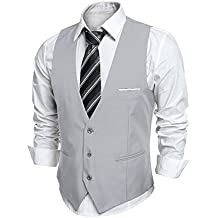 Coofandy Gilet de Costume Homme Veste sans Manche Business Mariage Taille  S-XXL 982cd00e42f0