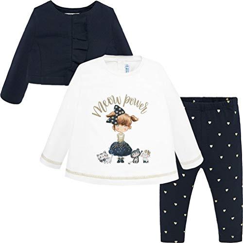 Mayoral Baby Mädchen Set Tunika, Leggings und Bolerojacke, Größe:92, Farbe:Marineblau