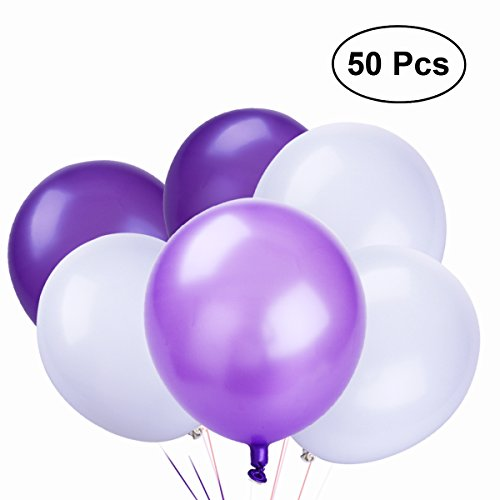 (NUOLUX Latex Luftballons,10 Zoll weiße lila Luftballons für Party Supplies, 50 Stück, 3 Farben)
