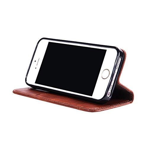 iPhone SE 5SE 5 5S Handycover, LifeePro für iPhone SE 5SE 5 5S Crazy Horse Pattern PU Leder Brieftasche Handycover mit Flip Stand Funktion Fotorahmen und Kartensteckplätze TPU Silikon Weiche Abdeckung Dunkelbraun