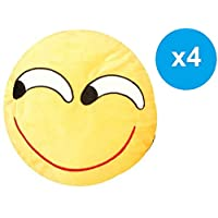 Fitness World Emoji Smiley Emoticon Cushion Set, Yellow, Size 36 cm, 4 Pieces, A-196