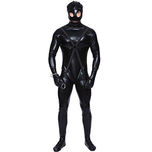 Herren Gr.L Ganzkoerperanzug Ganzkoerper Gummi body schwarz Anzug Latzhose Kunstleder Fasching karneval Kostuem