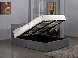 3ft, 4ft, 4ft6, 5ft Fusion Grey Linen Fabric Ottoman Storage Bed Double Single King Storage Bed (4FT6 Double Storage Bed)