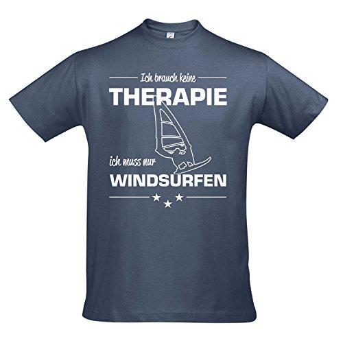 T-Shirt - Therapie - Windsurfen - Sport FUN KULT SHIRTS S-XXL , Denim - weiß , XL