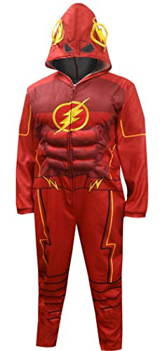 Dc Comics Herren-Justice League Flash-Kostüm One Piece Union Anzug Männer Pyjama Outfit (X-Large) Red