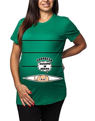 Tshirt lunga da donna ideale per il premaman con nome maschietto Sorpresa Giuseppe in arrivo - tshirt simpatiche e divertenti - humor Verde