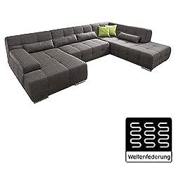 Couch ist r/ückenecht bezogen und hat einen Bettkasten lifestyle4living Wohnlandschaft in Anthrazit und Grau mit verstellbaren Kopfst/ützen und Armteilen