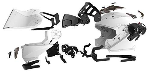 Motorradhelm Klapphelm Integralhelm Fullface Helm – Yema YM-925 Rollerhelm Sturzhelm mit Doppelvisier Sonnenblende ECE für Damen Herren Erwachsene-Weiß-XL - 7