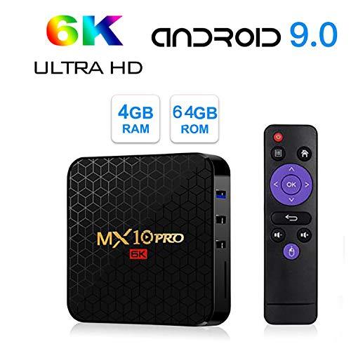 WFGZQ TV Box Android 9.0, MX10 PRO 4 GB RAM 64 GB ROM Allwinner H6 Quad-Core Cortex-A53-CPU Unterstützt 3D-Ausgabe 6K H.265 2,4 Ghz WiFi Internet USB 3.0 Smart Tvbox,4gb+64gb