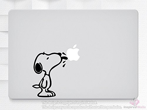 Snoopy Licking Apple Laptop MacBook iPad NoteBook Aufkleber Decal Vinyl Skin by Inspired Walls® (Snoopy Laptop Decal)