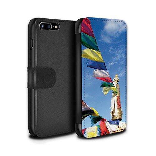 STUFF4 PU-Leder Hülle/Case/Tasche/Cover für Apple iPhone 7 Plus / Auswuchten Steine Muster / Innerer Frieden Kollektion Gebetsfahnen