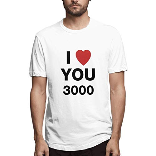 ts Men Solid O Ausschnitt Slogan I Love You 3000 Times for Ironman Letters Muster Print Druck Bluse Loose Lose Geschenk Gift Oberteile Tops (L,Sahne) ()