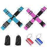 Cinghia per valigia,Regolabile Cinghie per Bagagli con Password Lock,e 2 tag bagaglio,per Viaggiare in sicurezza(blu+ rosa)