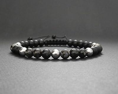 Bracelet homme pierres naturelles opale grise, onyx noir mat, hématite argentée