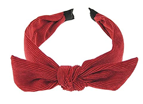 Women Girls Corduroy Draped Mini Bow Headband Alice Band - (Dark Red)
