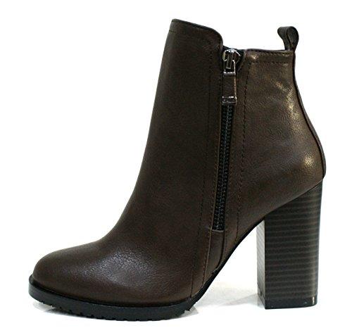 Gaudi Tronchetto Donna Verity Zip Tacco Cm 9 Leather Dk Brown_38