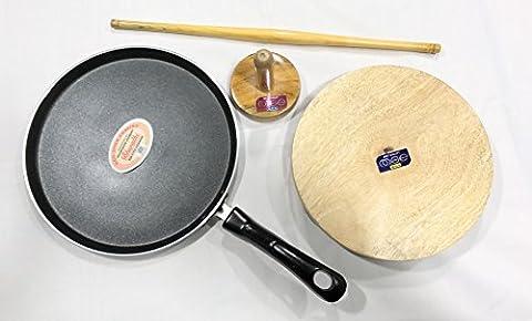 Indian Chapati Roti Making Kit Set, Non Stick Chapatti Tawa, Fluffer, Rolling Pin and Board -FREE GIFT