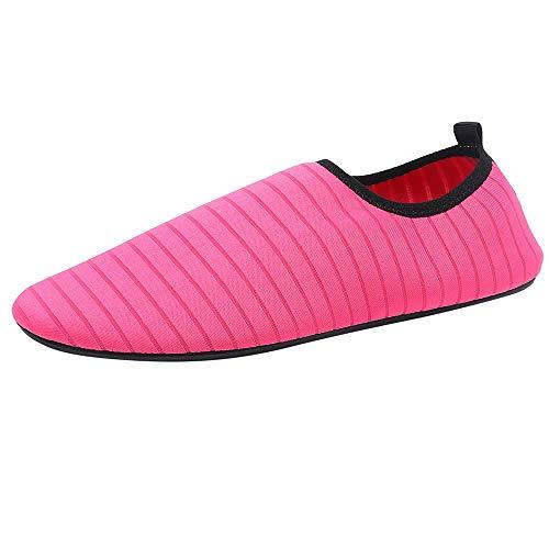 feiXIANG Schuhe Unisex Aquaschuhe Herren Damen Laufschuhe Schnelltrocknend Strandschuhe Wasserschuhe Badeschuhe (Heiß Rosa,43-44)