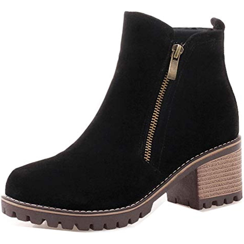 Easemax Femme Rétro Tige Courte Talon - Chunky Low Boots Bottines avec Zip  - Talon B07HDNKVDM 489f242fa006