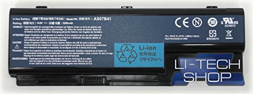 LI-TECH Li Batterie 14.4V 14.8V 8Zellen 5200mAh für ACER ASPIRE as-8735g-744g64mn schwarz Batterie