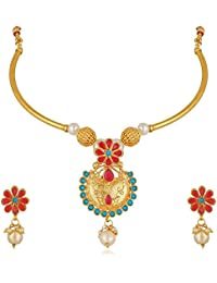 Apara Red And Blue Pendant Necklace Earring Jewellery Set For Women