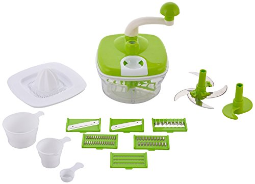 ROXA Plastic Manual Food Processor - Dough Maker/Vegetable Cutter/Slicer/Grater (Multicolour) - Combo of 10