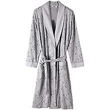 Vestido De Noche De Los Hombres Vestido De Tamaños Cómodos Algodón Pijama Cómodo Albornoz Suave Bata