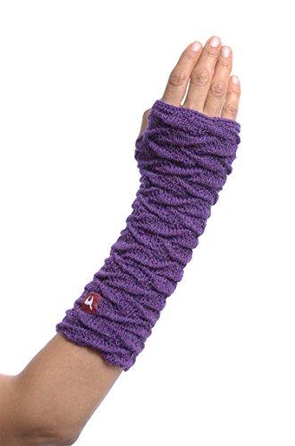 Alpaka-Handstulpen BIESEN Baby Alpaka Arm-Stulpe Gelenkwärmer Pulswärmer Damen von APU KUNTUR lila