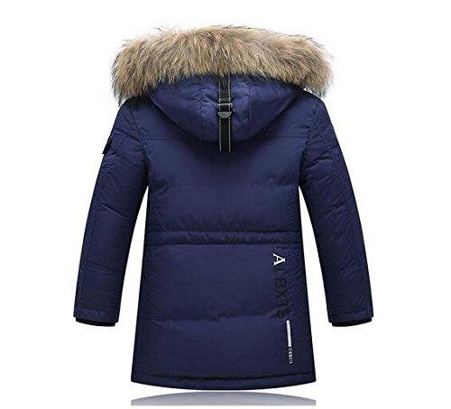 Ohmais Unisex Jungen Mädchen Winter Down Jacket verdickte Winterjacke Jungen Mantel verdickte Trenchcoat Jungen Outerwear mit Kapuzen Marine