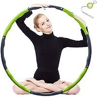 Fitness Hula Hoop zur Gewichtsreduktion,Reifen mit Schaumstoff ca 1 kg Gewichten Einstellbar Breit 48–88 cm beschwerter Hula-Hoop-Reifen für Fitness (4 Knoten Grün + Grau) mit Mini Bandmaß