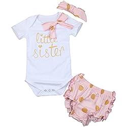 Covermason Bebé, Amlaiworld Bebé Recién Nacido Impresión Pantalones Cortos Mono Venda 3 piezas Ropa Set 0-24 Mes (0-6 Mes, Blanco)