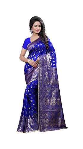 The Fashion Outlets Women's Cotton Silk Zari Jacquard Sarees(Free Size_Blue)