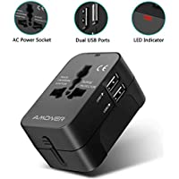Amoner Power Adapter International 2-Port USB for Worldwide Travel (black)