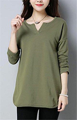 AILIENT Donna Camicetta Maglietta T-Shirt Maglia Blusa Puro Colore Manica Lunga Collo V Camicetta Sexy Ufficio Green