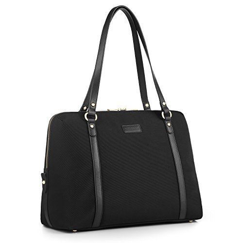 CHICECO Travel Tote Handbag Women's Briefcase for 15.6-Inch Laptops - Black -