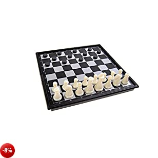 Gioco da tavolo magnetico (Edizione mini da viaggio): Scacchi, Dama - pezzi magnetici, tavoliere pieghevole, 15x15x1.5cm, Mod. SC5380 (DE)