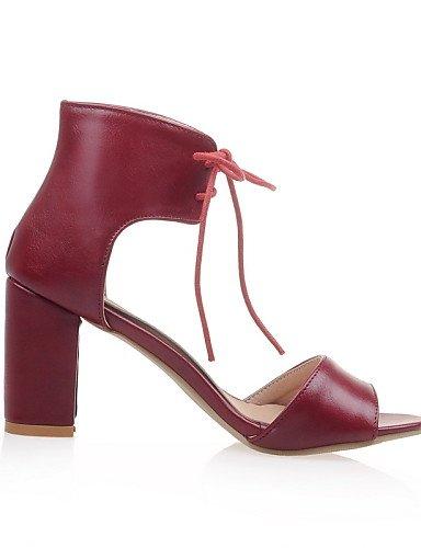 UWSZZ IL Sandali eleganti comfort Scarpe Donna-Sandali-Formale-Tacchi / Aperta-Quadrato-Finta pelle-Nero / Beige / Borgogna Black