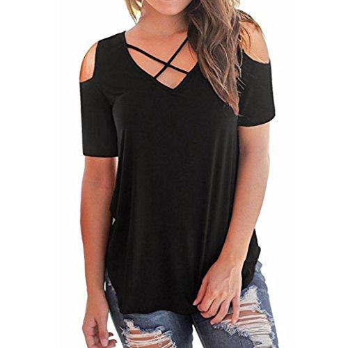Amphia Damen Schulterfrei T-Shirt Kurzarmshirt Sommer Bluse Tunika Cut Out Oberteil Tops mit Spitzen (Schwarz, M)