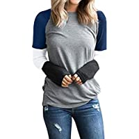 Juliyues Damen Pullover,Frauen Color Block Langarmshirt Hemden Rundhals Oberteil T-Shirts Long-Sleeved Tops Bluse