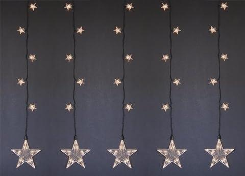 LED Lichterkette Fensterbild STAR LIGHT, Sternen- Leuchtvorhang für INNEN + AUSSEN