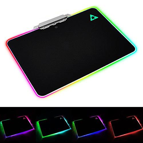 Gaming Mauspad - Yunshangauto® Professional Hartes Gaming Mauspad RGB LED Beleuchtet PC Pro Mausmatte mit Großer Hart Oberfläche für Profi-Spieler - Schwarz