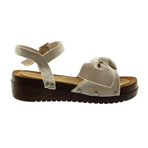 Angkorly Chaussure Mode Sandale Mule Plateforme Lanière Cheville Femme Noeud Clouté Bois Talon Compensé Plateforme 4.5 CM Beige