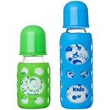 Naughty Kidz Premium Warmer Glass Bottle With Ultrasoft LSR Nipple||Silicone Bottle Warmer||Key TEETHER||Hood Retaining Cap And Sealing DISC RING-120ML+240ML (Green+Blue)