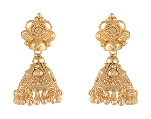 SKN 22kt Gold Plated Copper Metal Daily Wear Dangle & Drop Jhumki Earrings for Women & Girls (SKN-1611)  available at amazon for Rs.99