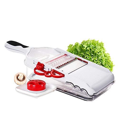Handbuch Gemüseschneider, Einstellbar Gemüse Fruit Dicer mit Lager Container Mandoline Gemüse Reibe mit 5 Austauschbare Klingen