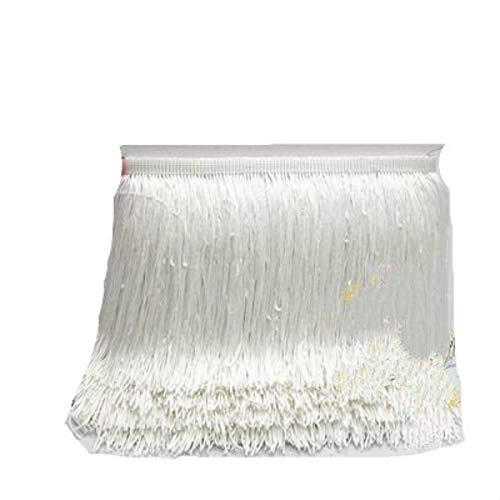 Yalulu 10 Meter Länge 15cm Breite Quaste Seidig Fransen Geschnitten Fransenborte Kostüm Quaste Trimmen Garment Apparel Spitzenborte Nähzubehör (Weiß)