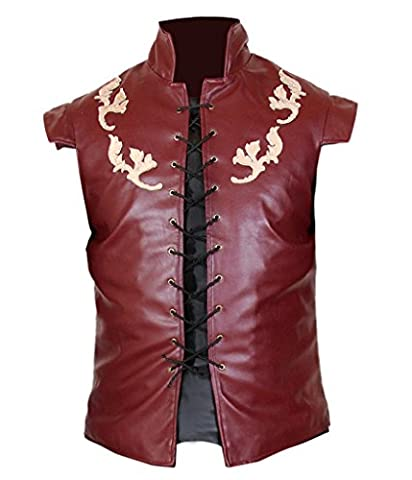 F&H Men's Game Of Thrones Peter Dinklage Tyrion Lannister Genuine Leather Vest S Maroon