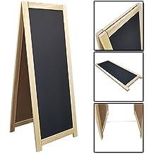 Pizarra caballete doble cara para bares en color natural - Tablero publicitario para bares, restaurantes o tiendas 110 x 45 cm con bordes de madera