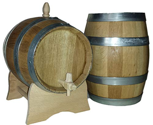 Barril de vino madera de roble 5litros casera construido en los barriles son de madera de roble maciza, o con anillos de hierro galvanizado son confeccionados según la tradición jahrhundertlanger barril de Bauer. ideal para Whisky/Brandy barril de v...