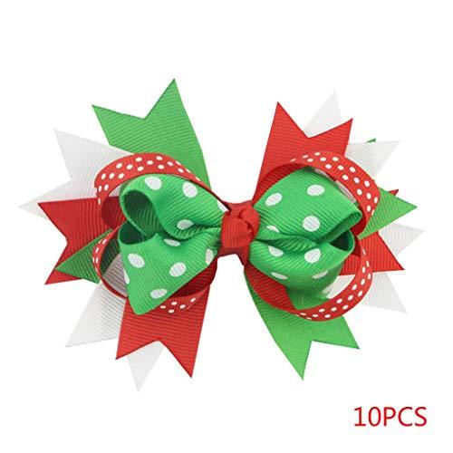 Kostüm Tanzabend Für Kleinkind - Vkospy 10pcs / Set Baby-Punkt grossgrain Band Schwalben-Schwanz Hairbow Bowknot Barrette Hairpin Weihnachtsbogen-Haarspange